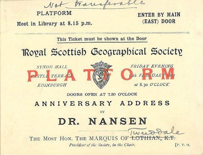 Ticket for Dr Nansen's talk in the Synod Hall, Edinburgh, 12 February 1897.