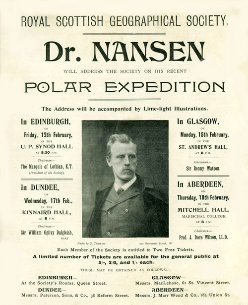 Advertising flier for Dr Nansen's RSGS talks, February 1897.