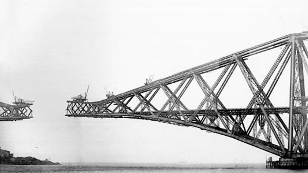 Forth Bridge in its various stages of construction (1890)